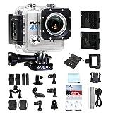 Action Cam, WiMiUS L1 4k Action Sport Camera HD 20MP WIFI, Fotocamera Subacquea 4K LCD Schermo 2 Pollici Impermeabile + 2 Batterie e Kit di Accessori (Argento) immagine