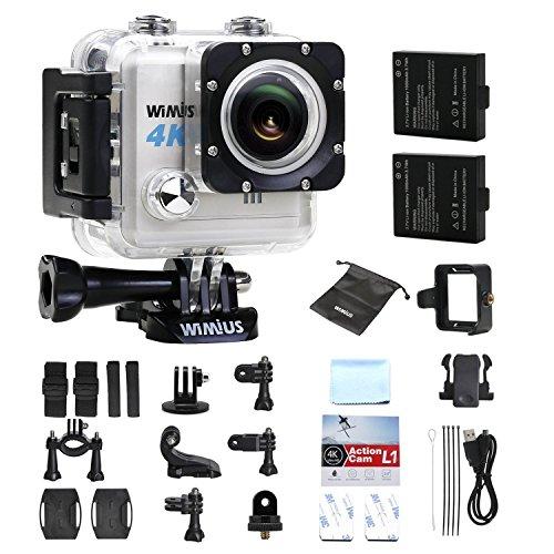 Caméra Sport, WiMiUS L1 4K Action Cam HD 20MP WIFI Etanche 30m Supporte FPV, Camera de Sport Embarquée avec 2 Batteries et Kit d'Accessoires (Argent)