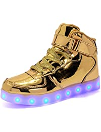 Aizeroth-UK Unisex Kinder LED Schuhe 7 Farbe USB Aufladen LED Leuchtend Outdoor Sportschuhe Low Top Atmungsaktives Ultraleicht Laufschuhe Gymnastik Turnschuhe Für Jungen Mädchen