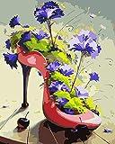 WSKZZ Pantoffel und Blumen DIY ölgemälde by Zahlen handgemalte Digitale wanddekor malerei für Wohnzimmer 40x50 cm