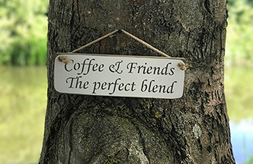 Kaffee & Friends Die perfekte Mischung Schild Massivholz Home Decor Küche Schild handgefertigt von Vintage Produkt Designer Austin Sloan