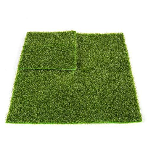 Mumusuki 4 stück 2 Größen Synthetische Kunstrasenmatte, Kunststoff Rasen Gras Indoor & Outdoor Grünen Kunstrasen Micro Landschaft Ornament Wohnkultur(30 * 30cm) -