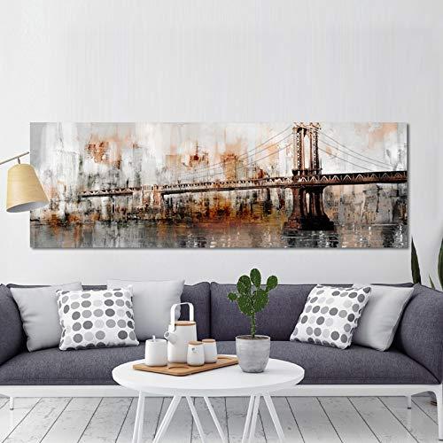 YCOLLC Wanddekoration Malerei Große Größe 70x210cm-moderne abstrakte George Washington Bridge Wanddekoration Malerei und Drucke Wandkunst Malerei für Livingom Decor Kein ()