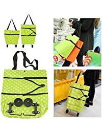 ShineLife Oxford Material Reusable Folding Trolley, Grocery Cart, Shopping Tote Bag, HandBag With Wheels, Standard...