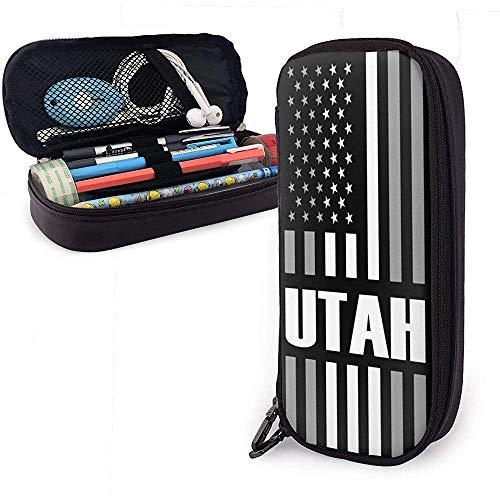 Estuche de lápices con bandera de Utah, EE. UU. Bolsos de lápices escolares Estuche de lápices estacionario...