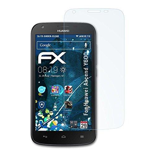atFolix Schutzfolie kompatibel mit Huawei Ascend Y600 Panzerfolie, ultraklare & stoßdämpfende FX Folie (3X)
