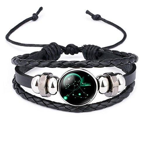 12 Sternzeichen Armband Glas Cabochon Horoskop Anhänger Silber Armschmuck Herren Armbänder Verstellbare Kette (Schütze)