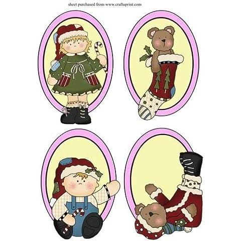 4 Navidad rodapié de camafeos de unidades de Sharon Poore