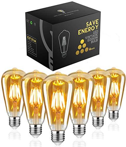 Edison Glühbirne E27,Woowtt Edison Vintage Glühbirne,6W LED Glühbirne,Dimmbar LED Filament Lampe Nostalgie,Antike Amber Warm Licht Retro Edison Birne,600 Lumen,ST64,220V,6W(60W Äquivalent) - 6 Stück
