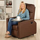 maxVitalis Fernsehsessel - Relaxsessel - Komfortsessel mit Aufstehhilfe, Wärmefunktion & Massage || ausklappbarer Seitentisch || inkl. Seitenfach (Braun) - 2