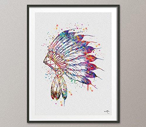Native American Kopfschmuck Indian Chief Kunstdruck Watercolor Hochzeit Geschenk Wand Decor Art indischen Art Kinderzimmer Home Decor Wandbehang keine [576], Mittel, 11.70 x 16.55 (Native American Hochzeit)