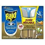 Raid Diffuseur Électrique Liquide, 1 Recharge, Moustiques et Moustiques Tigres, Durée et Intensité Réglables, 40 Nuits, Insecticide, Advanced