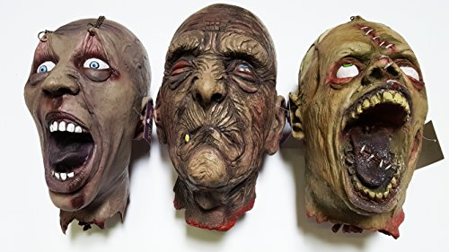 Cultica(R) 3 lebensgroße Horror Schädel Männer Kopf Leiche Halloween Latex Deko Profi Ware Geisterbahn Qualität lebensgroß Wie echt