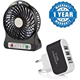 Drumstone Multi Functional Rechargeable Battery Usb Mini Portable Fan Comfort With 3 Speed Level With 3 Ports USB Universal Travel Wall Charging Adapter Compatible With All Smartphones (One Year Warranty)
