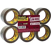 3M Scotch Low Noise - Cinta de embalaje, cinta adhesiva para almacenamientos y envíos, desenrollado silencioso, 50 mm x 66 m, 6 rollos, color marrón