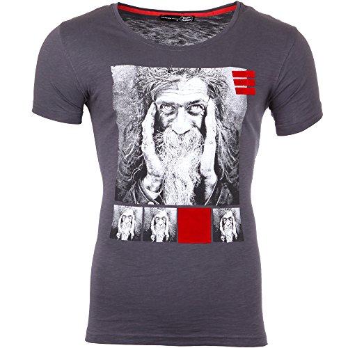 Tazzio T-Shirt Herren Rundhals Motiv-Print Druck Kurzarm Shirt TZ-17107 Anthrazit