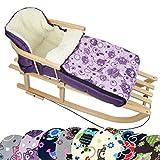 BambiniWelt Kombi-Angebot Holz-Schlitten mit Rückenlehne & Zugseil + universaler Winterfußsack (108cm), auch geeignet für Babyschale, Kinderwagen, Buggy, aus Wolle im Eulendesign (Eule $6)
