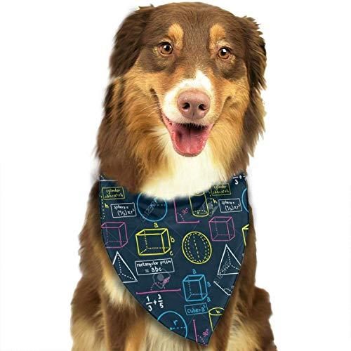 Sdltkhy Math Navy Pet Bandana Washable Reversible Triangle Bibs Scarf - Kerchief for Small/Medium/Large Dogs & Cats -