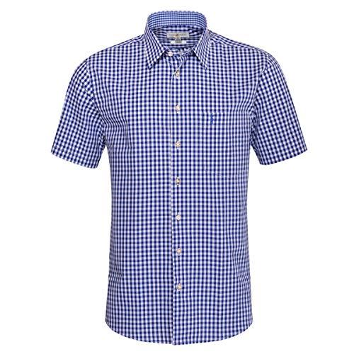 Almsach Herren Kurzarm Trachtenhemd Regular-Fit Trachten-Mode traditionell-kariert s-XXL in vielen Farben, Größe:XXL, Farbe:Blau