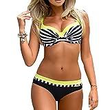 Femme Push Up Bikini Maillot de Bain Halterneck Rembourré Maillot de Natation Rayé 2 Pièce Tenue de Plage Juleya