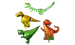 PuTwo Birthday Balloons 3 Jumbo Dinosaur Mylar/Foil Balloons & 1 Dinosaur Happy Birthday Banner Party Decoration for Boy's Birthday for Dinosaur Theme Party Jurassic Theme Party - Red & Yellow & Green
