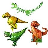 PuTwo Geburtstag Luftballons 3 Dinosaurier Folienballons & 1 Dinosaurier Happy Birthday Banner Party Ballons Helium Ballons Party Deko für Dinosaurier Party Junge Geburtstag Party - Rot & Gelb & Grün