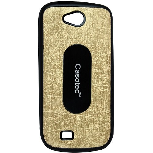 Casotec Metal Back TPU Back Case Cover for Micromax Canvas Elanza A93 - Gold  available at amazon for Rs.199