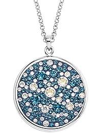 Noelani Damen-Halskette mit Rundem Plaketten-Anhänger rhodiniert mit Blauen  Kristallen von Swarovski 1dcb0bc32e