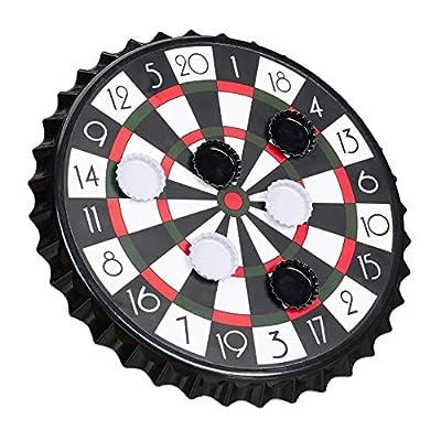 Relaxdays Cible magnétique avec 6 Capsules de Couronne, Jeu de fête Ø 25 cm, Noir