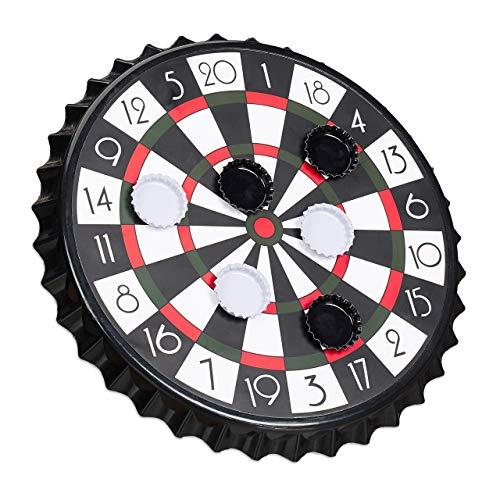 Relaxdays Kronkorken Dartscheibe, magnetische Zielscheibe, Dart Trinkspiel mit 6 Kronkorken, Partyspiel Ø 25 cm, schwarz