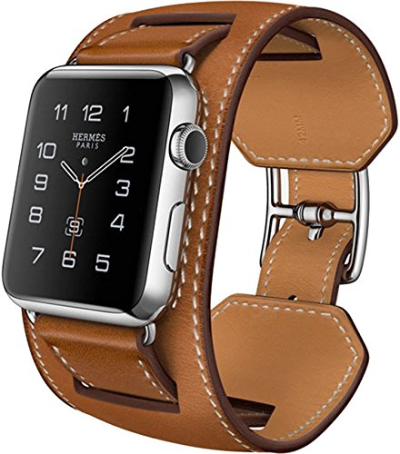 Preisvergleich Produktbild Apple Watch Band, Genuine Leather 38mm Strap iWatch Band by DRUnKQUEEn with Classic Metal Buckle for 38mm Apple Watch & Sport & Edition