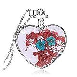 Adisaer Kette Damen Plexiglas Halskette Trockenblumen Blau Blume Transparent Herz Anhänger Getrocknete Blumen Pullover Kette
