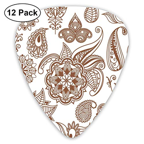 Guitar Picks - Abstract Art Colorful Designs,Ethnic Abstract Floral Elements Different Mandala Icons Vintage Exotic Nature,Unique Guitar Gift,For Bass Electric & Acoustic Guitars-12 Pack