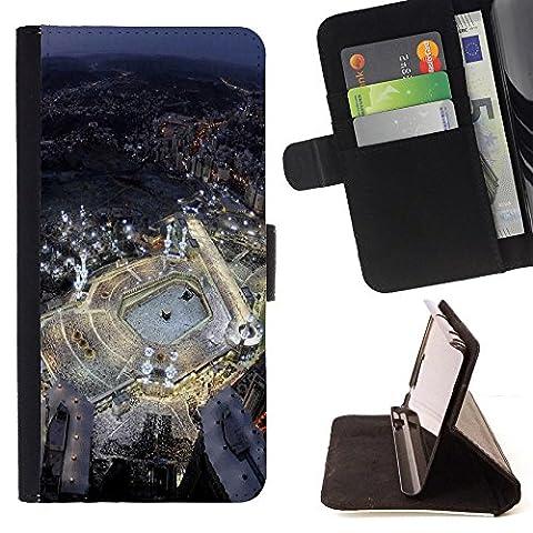 FJCases Mekka Saudi Arabien Postkarte Aussicht Tasche Brieftasche Hülle Schale Standfunktion Schutzhülle für HTC 10