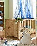 Babybett Guldborg 140 x 70 cm Kinderbett mit Sprossen Kiefer massiv, Farbton:Weiss gewachst