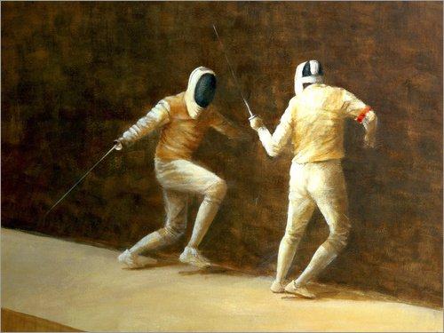 Posterlounge Leinwandbild 40 x 30 cm: Fechten von Lincoln Seligman/Bridgeman Images - fertiges Wandbild, Bild auf Keilrahmen, Fertigbild auf echter Leinwand, Leinwanddruck