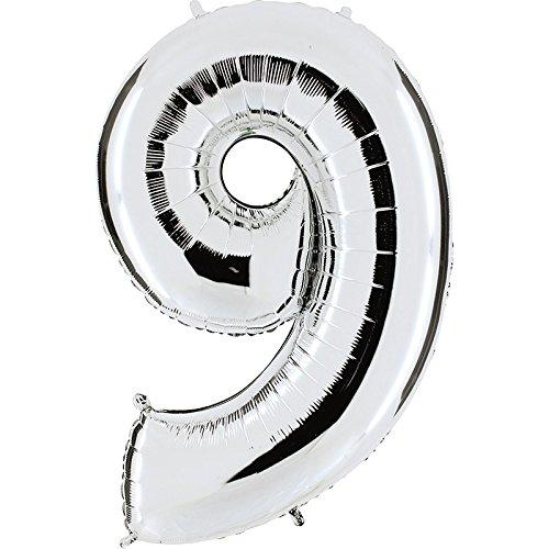Ballon Zahl 9 in Silber - XXL Riesenzahl 100cm - für Geburtstag Jubiläum & Co - Party Geschenk Dekoration Folienballon Luftballon Happy Birthday