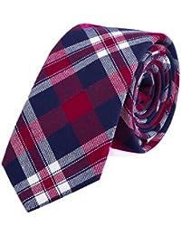 DonDon Fine cravate de coton avec rayures et carreaux pour hommes 6 cm