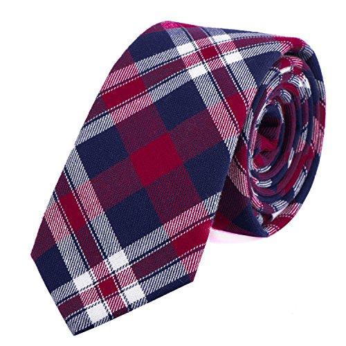 Dondon cravatta stretta a righe e a quadri da uomo 6 cm cotone - blu rosso