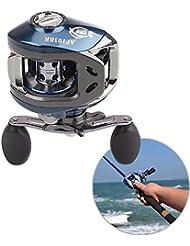 11BB Rodamiento de bolas para carrete de pesca con frenos magnéticos, se puede utilizar con la mano derecha, gran velocidad 10 + 1 BB (6,3:1) (Silvery&Blue)
