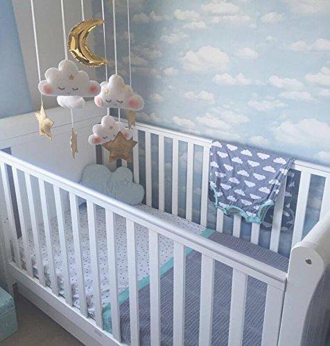 51ZGQhlAIML - Saco de dormir para bebés de 6 a 18 meses, de la marca Babasac. Diseño de nubes, color gris y turquesa