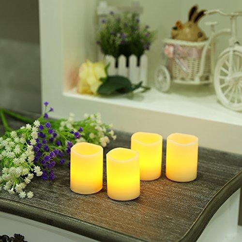 Songmics Juego de 4 Velas LED decorativas sin llama con Temporizador 6,5 cm Color marfil GLC50X