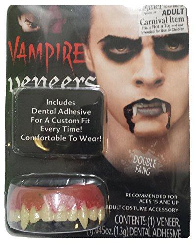 Vampire Eichenfurnier Zähne Scary Zähnen Fancy Dress Party Kostüm mit Dental Putty Gr. Einheitsgröße, Single Fangs