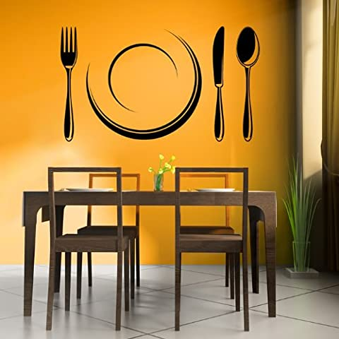 Posate E Zolla Wall Sticker Cucina Adesivo Art disponibile in 5 dimensioni e 25 colori Extra Grande Bianco