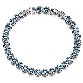 Susan Y Ocean Dream Tennis Bracelet Women Made Crystals Aquamarine Jewellery for Birthday Anniversary Christmas Mother Wife Daughter Girl Her