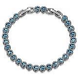 Susan Y Damen Tennis Armband mit Swarovski Kristall Blau Aquamarin Schmuck Geschenke Geburtstag...