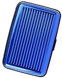 Lucklystar® Kreditkartenhalter EC Karten Box Case Wallet Kartenetui Aluminium Wasserdichte Kreditkarten Visitenkarten Etui Tasche(Blau)