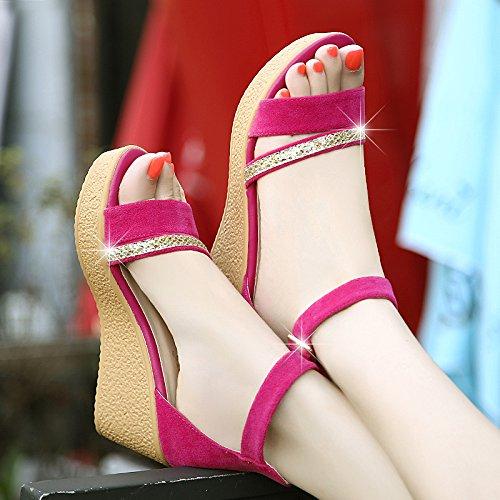 DGSA Sommer Damen Schuhe Koreanischen high-heel Fisch Tipp wasserdicht desktop Kuchen dicke Frauen Schuhe Hang mit Sandalen Weiblich Die rote