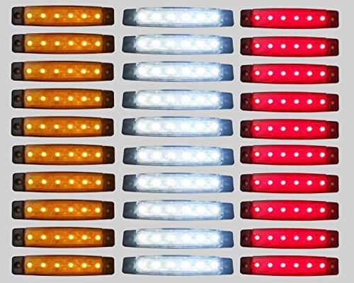 Pannello con luci SMD a 6 LED, da 24 V, di colore rosso, bianco e arancione, per luce di posizione e laterale per rimorchi e camion, confezione da 30 pezz