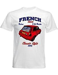 TEESANDENGINES Renault 5 GT Turbo 1 Camiseta Blanca para Hombre de Algodon